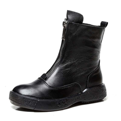 New leather original handmade vintage zipper non-slip Martin boots