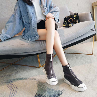 New leather platform casual front zipper high-top Martin boots
