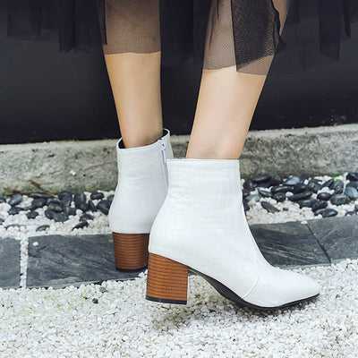 2019 New solid color rough side zipper ladies boots