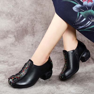Retro ethnic style embroidery deep mouth round head women's leather square dance shoes