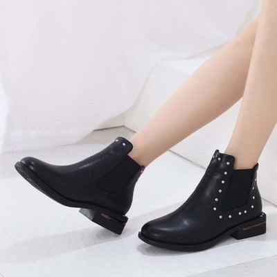 Autumn and winter Europe and America wild comfortable leather rivets thick with Chelsea boots women