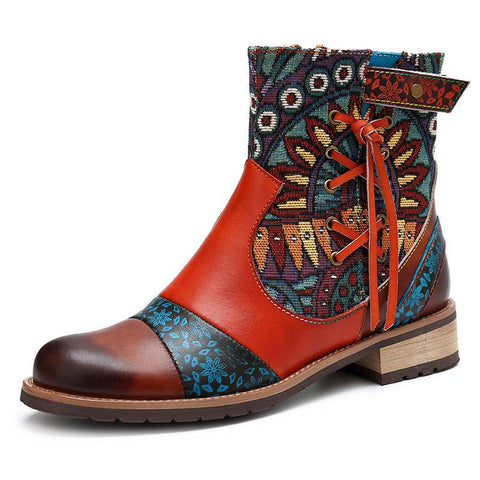 Retro Style Cross Tassel Zipper Embroidery Color Block Ankle Boots