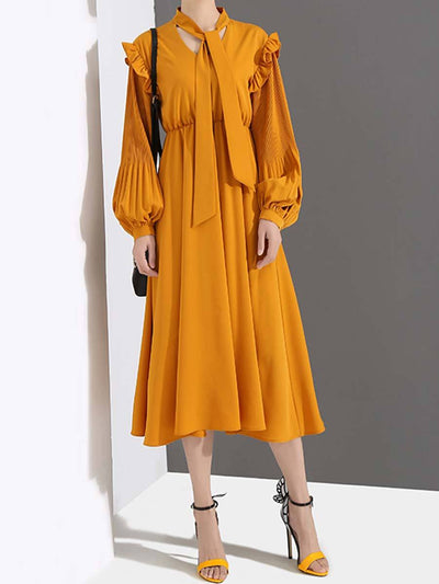Solid Color Ruffle Long Sleeve Pleated Lantern A-line Mid-Calf Bowknot Day Dresses