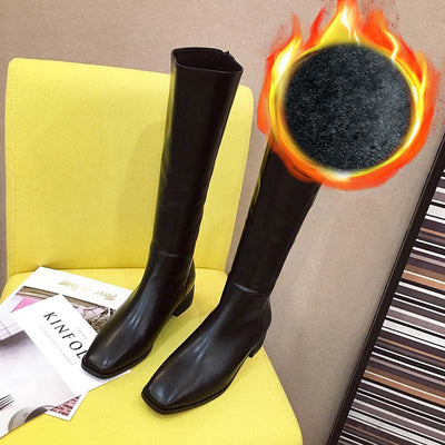 Autumn and winter new fashion casual square head thick heel long tube boots