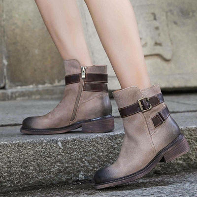 Buckle Belt Pleated Patchwork Leather Chunky Heel Ankle Boots