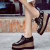 Embroidered muffin thick-soled lace-up women's shoes