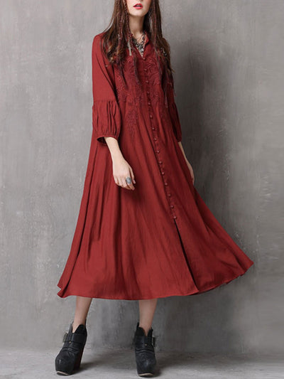 Embroidery V--Neck Lantern Sleeve Loose Pleated Linen & Cotton Dresses