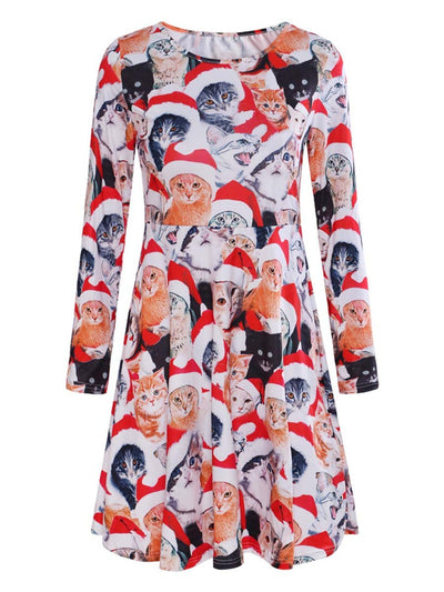 2019 autumn and winter new Christmas print long-sleeved ladies dress