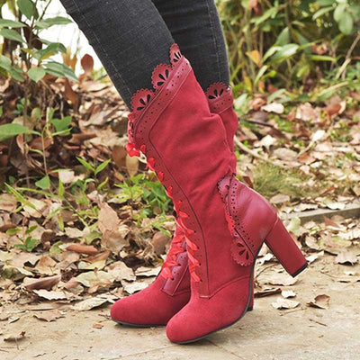 2019 new hot sale large size lace high heel tube female boots