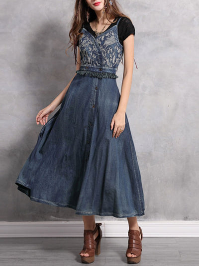 Spaghetti Embroidery Tassel Pocket Cardigan Pleated Denim Dresses