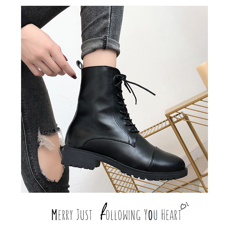Women's British style winter thick-soled short Martin boots thick-heeled handsome motorcycle boots