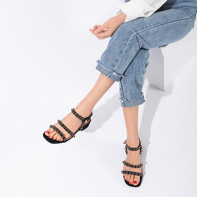Casual Solid Color Beads Buckle Flat Heel Sandals