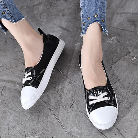 Casual Round Toe Leather Patchwork Lace-Up Flat Heel Tight Loafers