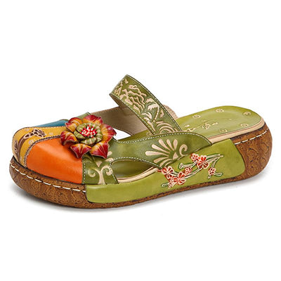 3D handmade flower slippers all-leather women's hand-printed retro flat shoes hand-painted sandals