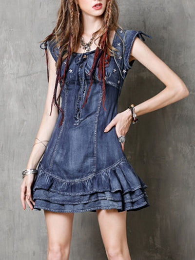 Square Sleeve Sleeveless Embroidery Patchwork Ruffle Bowknot Denim Dresses