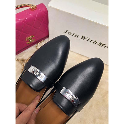 Belt buckle flat fashion shoes