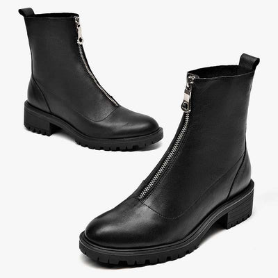 2019 autumn and winter new simple leather retro England wild casual thin boots