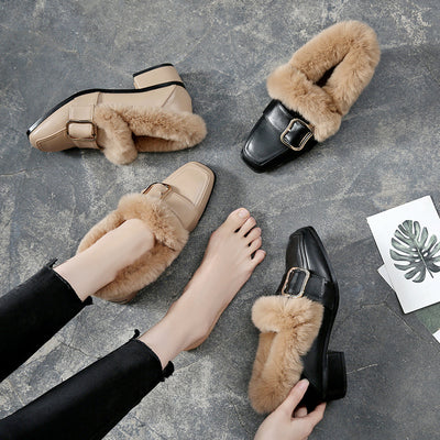 2019 autumn and winter new large size rabbit fur thick heel women's shoes high heels extra large wool shoes