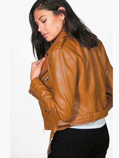 2019 autumn and winter new short lapels not hooded women's Leather clothing