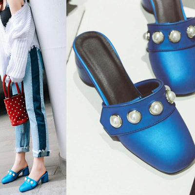 Mid-heeled head half-strap wild sandals