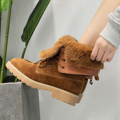 Winter leather thick plush laced dual-use snow boots