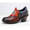 College style large size multicolor hand stitching brogue print chunky heel women's shoes