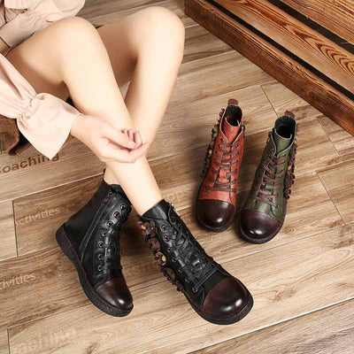 Autumn and winter new women's leather casual shoes with color matching comfortable wild Martin boots women's boots