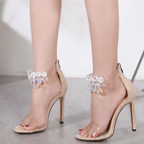 Sexy Rhinestones Flower Ankle Strap Open Toe Back Zipper Sandals
