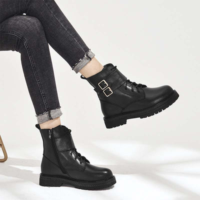 2019 autumn and winter first layer cowhide simple square root shoes Martin boots