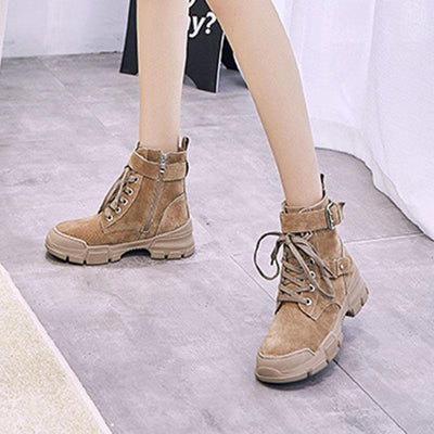 Platform Round Toe Lace-Up Sequins Side Zipper Patchwork Boots