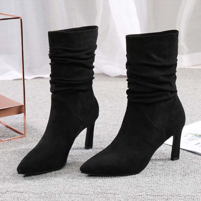 New pleated pointed stiletto versatile women's tube boots