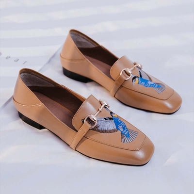 Embroidered square head comfortable lazy single shoes