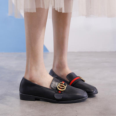 Student wild fashion soft leather buckle lazy peas shoes