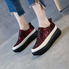 Leather sequin fisherman thick-soled platform sneakers
