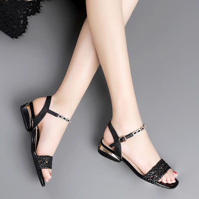 Fashion Solid Color Hollow Knitted Low Heel Leather Sandals