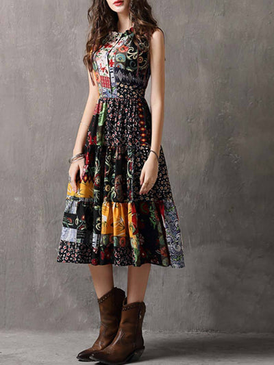 Floral Round Neck Buttons Sleeveless Patchwork Pleated A-Line Day Dresses