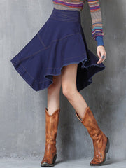 Asymmetric Solid Color Patchwork High-Waist Tassel Denim Skirts