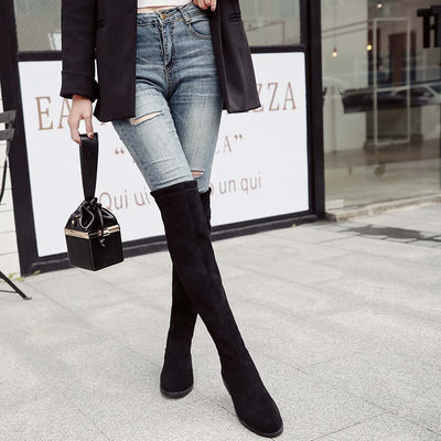 2019 new over the knee long flat elastic boots fashion slim high boots