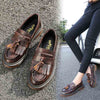 College wind sue flat bottom with beef tendon primer leather shoes