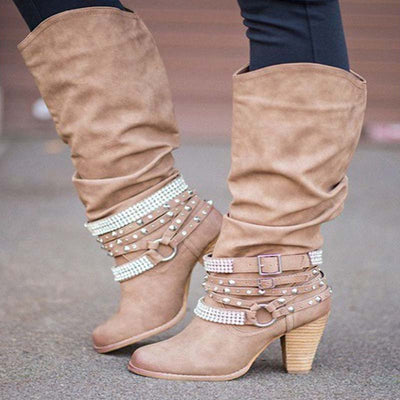 Large size new high heel round head rhinestone high boots