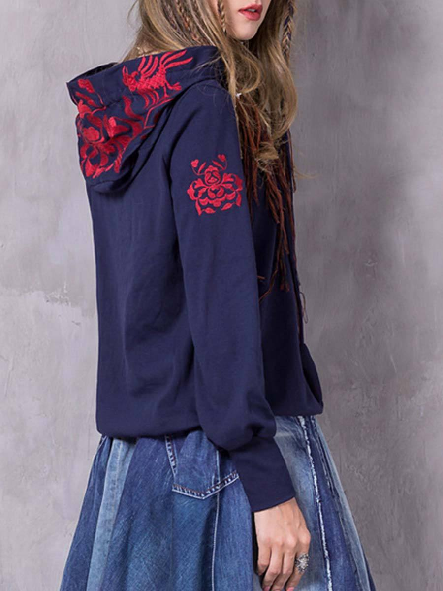 Casual Embroidery Lace-Up Loose Long Sleeve Cotton Hoodies