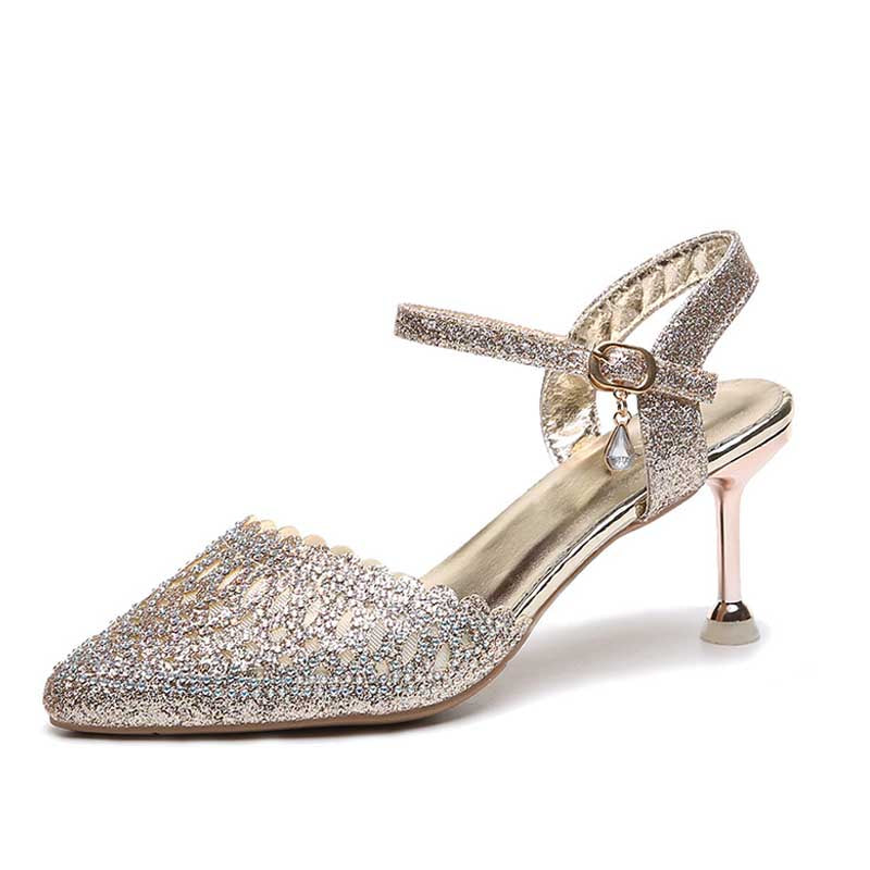 One-button buckle stiletto fashion toe hollow sandals