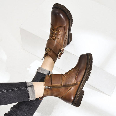 Ankle Strap Buckle Lace-Up Side Zipper Leather Boots