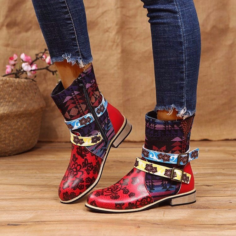 Large size Martin boots new ethnic style totem print stitching belt buckle women's short boots