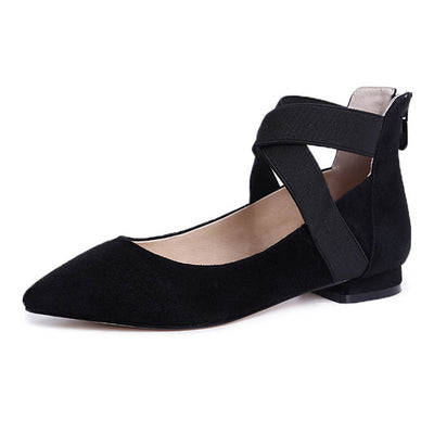 Cross straps sweet pointed low heel shoes