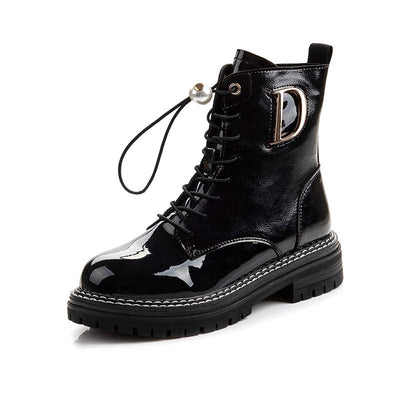 Autumn and winter new England style front strap retro wild round head thick heel Martin boots