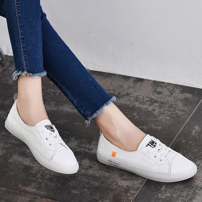 Leather Large Size Letter Patchwork Lace-Up Slip-On Flat Heel Loafers