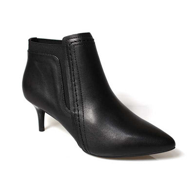 Leather stiletto black comfort Chelsea booties
