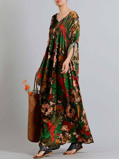 Silk V-Neck Long Sleeve Asymmetric Pleated Floral Maxi Dresses