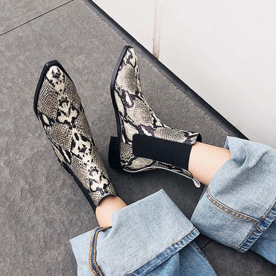 Fashion pointed serpentine thick heel flat bottom set Chelsea boots